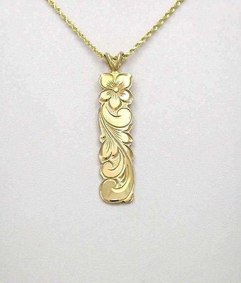 14K SOLID YELLOW GOLD HAWAIIAN 10MM PLUMERIA FLOWER SCROLL VERTICAL PENDANT