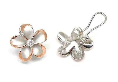 18MM SILVER 925 HAWAIIAN PLUMERIA OMEGA BACKS RHODIUM P