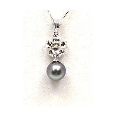 8.93MM TAHITIAN BLACK PEARL DIAMOND PENDANT IN 14K SOLID WHITE GOLD