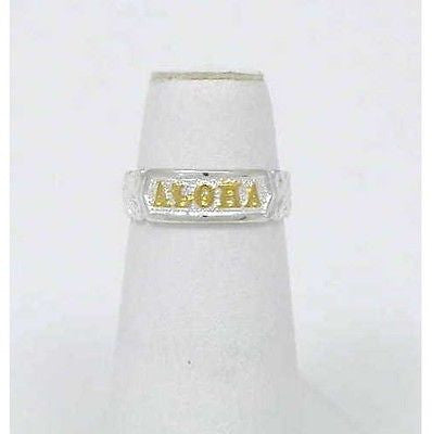 "GOLD ON SILVER 925 ""ALOHA"" PLUMERIA SCROLL TOE RING"