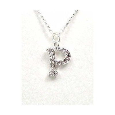 925 STERLING SILVER HEAVY HAWAIIAN PLUMERIA SCROLL INITIAL LETTER P PENDANT