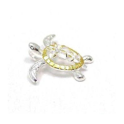 YELLOW GOLD PLATED SILVER 925 HAWAIIAN LARGE SMALL PLUMERIA HONU TURTLE PENDANT