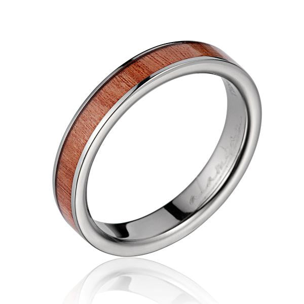GENUINE INLAY PINK WOOD WEDDING BAND RING TITANIUM 4MM SIZE 3-14