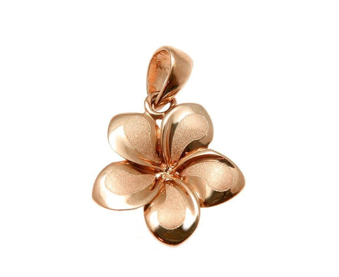 13MM SOLID 14K PINK ROSE GOLD HAWAIIAN FANCY PLUMERIA FLOWER CHARM PENDANT