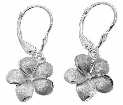 13MM SOLID 14K WHITE GOLD HAWAIIAN PLUMERIA FLOWER DANGLE LEVERBACK EARRINGS