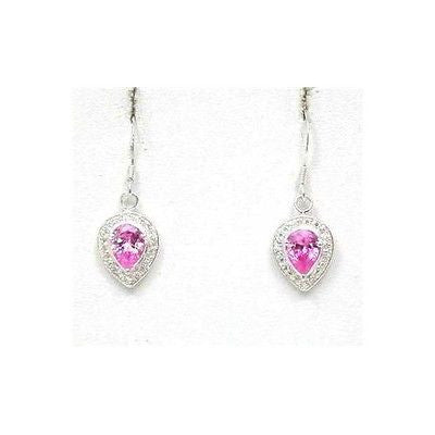 PINK & WHITE CUBIC ZURCONIA SILVER EARRINGS ON WIRE