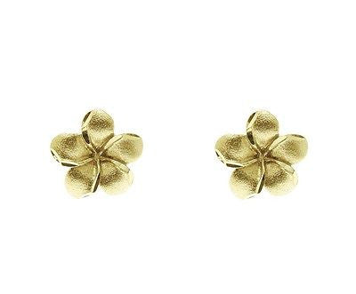 9MM SOLID 14K YELLOW GOLD HAWAIIAN TROPICAL PLUMERIA FLOWER STUD POST EARRINGS