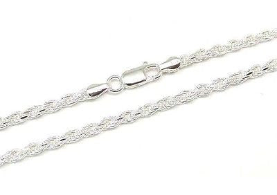 ITALIAN SILVER 925 DIAMOND CUT ROPE CHAIN 3MM 16""