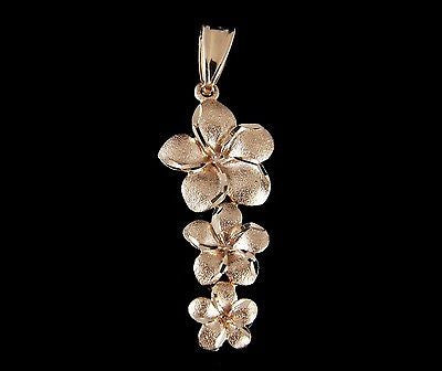 14K SOLID PINK ROSE GOLD 3 HAWAIIAN PLUMERIA FLOWER DANGLING PENDANT CHARM