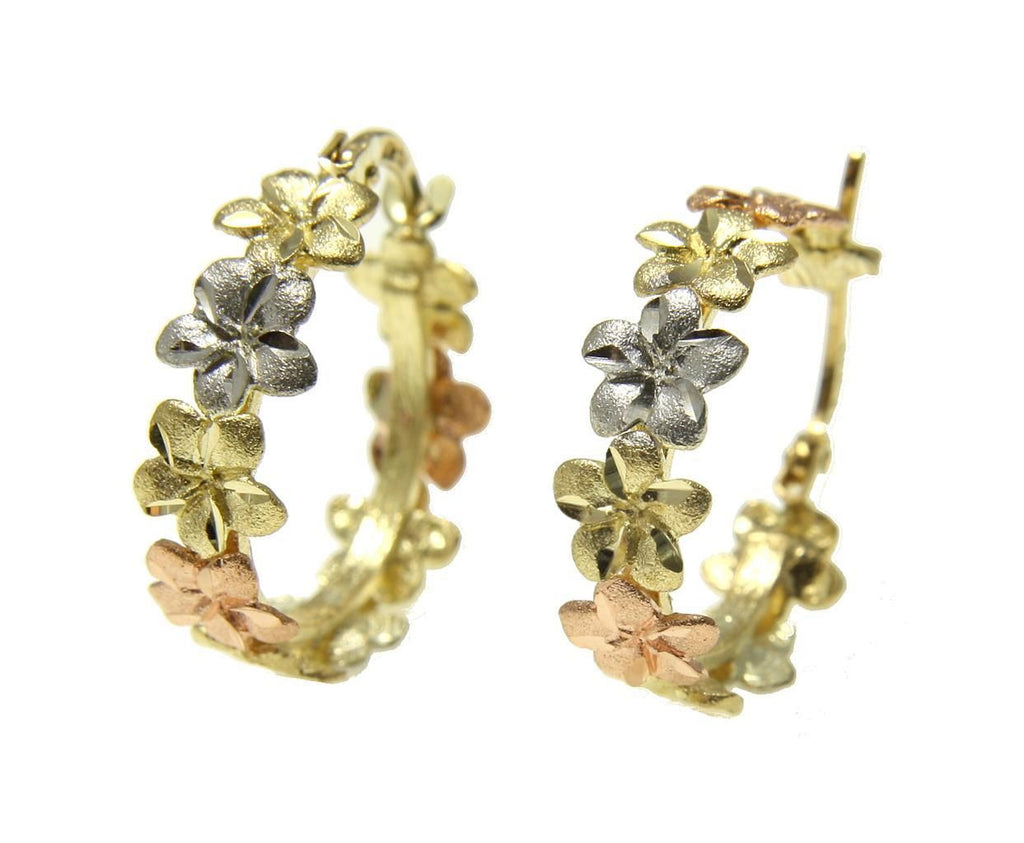 HEAVY 14K YELLOW ROSE WHITE TRICOLOR GOLD HAWAIIAN PLUMERIA FLOWER HOOP EARRINGS
