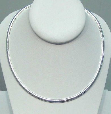 "4MM ITALIAN SOLID STERLING SILVER OMEGA CHAIN NECKLACE 16"" 18"" 20"""