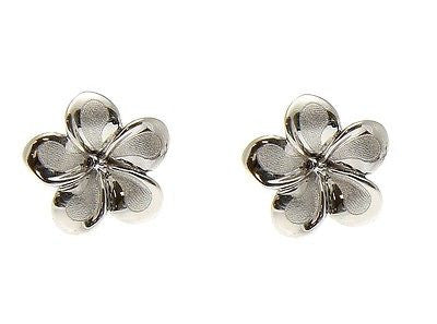 9MM SOLID 14K WHITE GOLD HAWAIIAN FANCY PLUMERIA FLOWER STUD POST EARRINGS