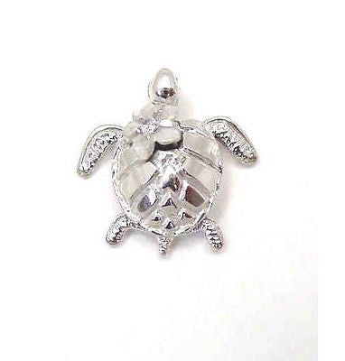 14K SOLID WHITE GOLD 3D HAWAIIAN SEA HONU TURTLE CARRY PLUMERIA FLOWER PENDANT