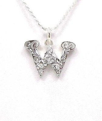 925 STERLING SILVER HEAVY HAWAIIAN PLUMERIA SCROLL INITIAL LETTER W PENDANT