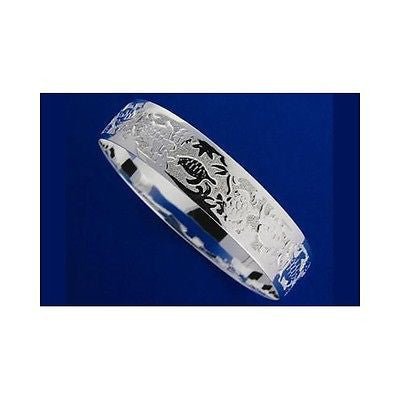 STERLING SILVER 925 HAWAIIAN BANGLE BRACELET SWIMMING SEA TURTLE 15MM