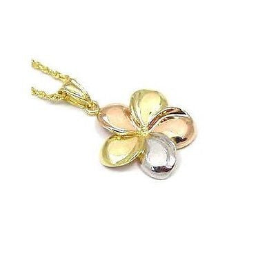 19MM SOLID 14K TRICOLOR GOLD HAWAIIAN FANCY PLUMERIA FLOWER PENDANT
