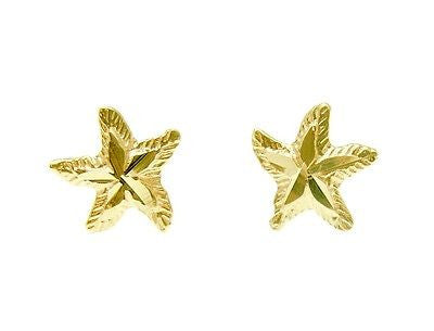 8MM 14K SOLID YELLOW GOLD HAWAIIAN SEA STAR STARFISH STUD EARRINGS DIAMOND CUT