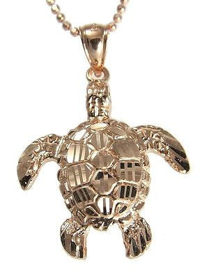 14K SOLID PINK ROSE GOLD SPARKLY DIAMOND CUT HAWAIIAN SEA TURTLE HONU PENDANT L