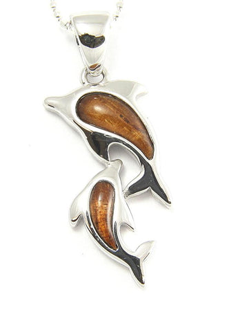 GENUINE INLAY HAWAIIAN KOA WOOD MOTHER BABY DOLPHIN PENDANT 12MM SILVER 925