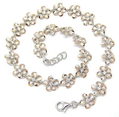 8MM SILVER 925 HAWAIIAN PLUMERIA FLOWER ANKLET RHODIUM PINK ROSE GOLD 2 TONE