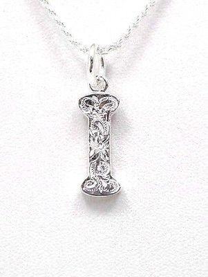 925 STERLING SILVER HEAVY HAWAIIAN PLUMERIA SCROLL INITIAL LETTER I PENDANT