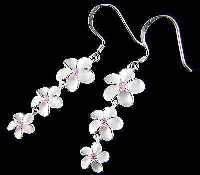 SILVER 925 HAWAIIAN 3 PLUMERIA 12MM 10MM 8MM DANGLE WIRE HOOK EARRINGS PINK CZ