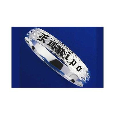 SILVER 925 HAWAIIAN BANGLE BRACELET BLACK ENAMEL KUUIPO SCROLL SMOOTH EDGE 8MM