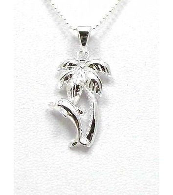 SILVER 925 HAWAIIAN PALM TREE DOLPHIN PENDANT SHINY