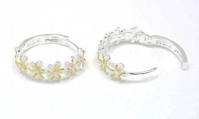 STERLING SILVER 925 2 TONE YELLOW 6 HAWAIIAN PLUMERIA FLOWER HOOP EARRINGS CZ