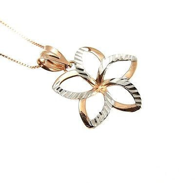 18.5MM 14K PINK ROSE HAWAIIAN OPEN PLUMERIA FLOWER WHITE GOLD SMOOTH PENDANT