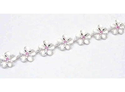 925 STERLING SILVER HAWAIIAN PLUMERIA FLOWER BRACELET PINK CZ 8MM 7 1/2""