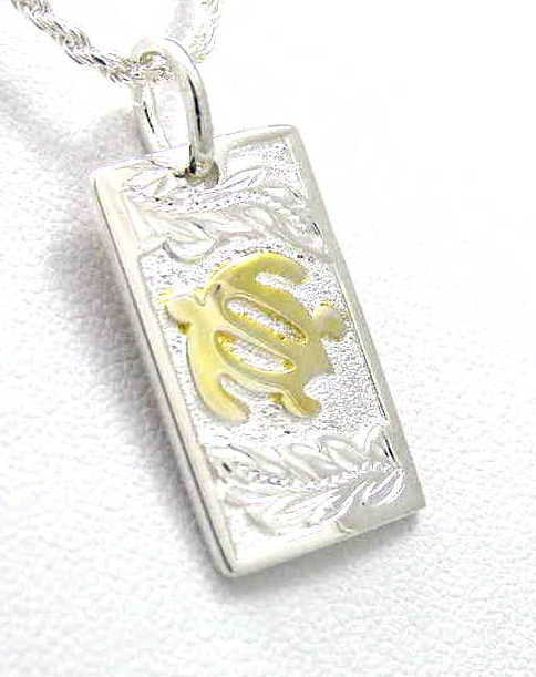 925 SILVER 2 TONE YELLOW GOLD PLATED HAWAIIAN HONU TURTLE MAILE LEAF PENDANT