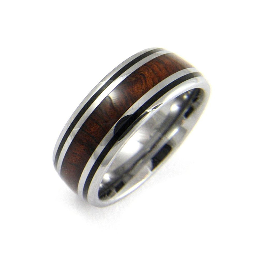 GENUINE INLAY HAWAIIAN KOA WOOD BAND RING TUNGSTEN COMFORT FIT BLACK BORDER 8MM