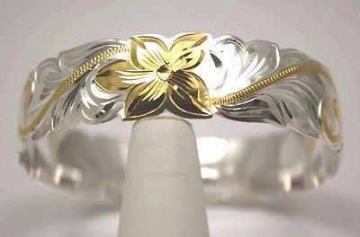 SILVER 925 HAWAIIAN BANGLE BRACELET PRINCESS PLUMERIA SCROLL CUT OUT 18MM 2 TONE