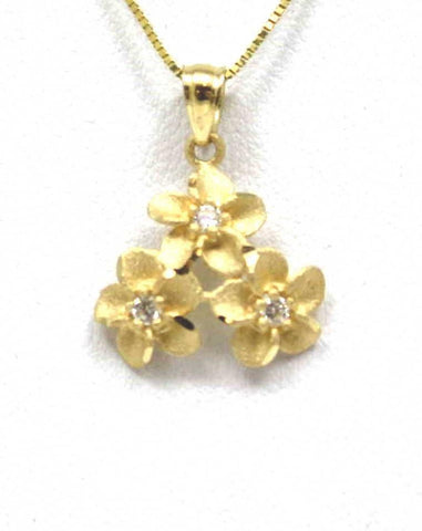 14.5MM SOLID 14K YELLOW GOLD HAWAIIAN 3 PLUMERIA FLOWER PENDANT CHARM