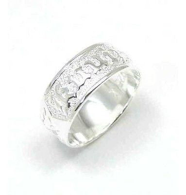 "8MM STERLING SILVER 925 HAWAIIAN PLUMERIA SCROLL ""KUUIPO"" BAND RING SMOOTH EDGE"