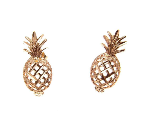 SOLID 14K ROSE GOLD HAWAIIAN DIAMOND CUT PINEAPPLE STUD POST EARRINGS