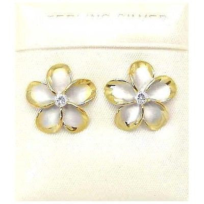 15MM STERLING SILVER 925 HAWAIIAN PLUMERIA EARRINGS RHODIUM YG
