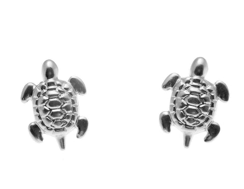 SOLID 14K WHITE GOLD HAWAIIAN SEA TURTLE HONU STUD POST EARRINGS SMALL 8MM