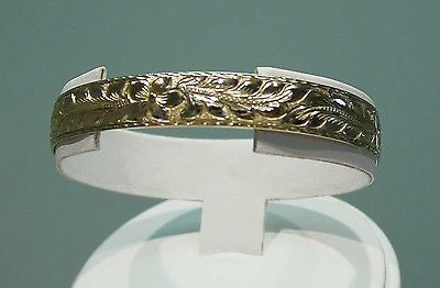 14K 12MM CUSTOM MADE HAWAIIAN MAILE LEAF DESIGN BANGLE