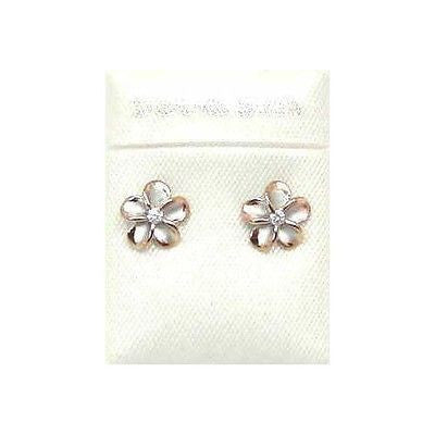 8MM SILVER 925 HAWAIIAN PLUMERIA EARRINGS RHODIUM PG