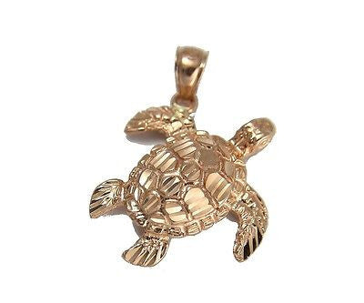 14K SOLID PINK ROSE GOLD SPARKLY DIAMOND CUT HAWAIIAN SEA TURTLE HONU PENDANT M