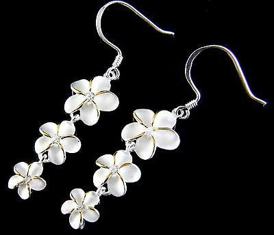 SILVER 925 HAWAIIAN 3 PLUMERIA 12MM 10MM 8MM DANGLE WIRE HOOK EARRINGS CZ 2 TONE