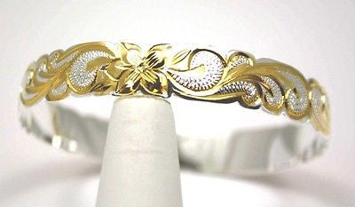 SILVER 925 HAWAIIAN BANGLE BRACELET ALOHA PLUMERIA SCROLL CUT OUT EDGE 8MM 2T