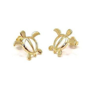 14K SOLID YELLOW GOLD SHINY HAWAIIAN HONU TURTLE STUD POST EARRINGS MEDIUM