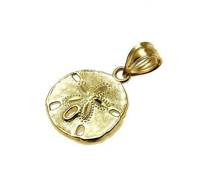 14K SOLID YELLOW GOLD 11.5MM HAWAIIAN SAND DOLLAR CHARM PENDANT DIAMOND CUT