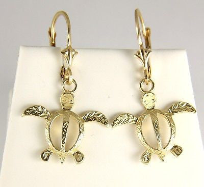14K SOLID YELLOW GOLD HAWAIIAN MAILE LEAF SEA TURTLE HONU LEVERBACK EARRINGS
