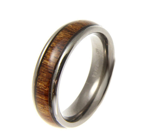 GENUINE INLAY HAWAIIAN KOA WOOD BAND RING TITANIUM COMFORT FIT DOME STYLE 6MM