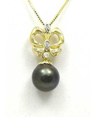 12.16MM TAHITIAN BLACK PEARL DIAMOND DANGLE PENDANT 14K SOLID YELLOW GOLD