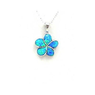 INLAY OPAL 925 STERLING SILVER 15MM HAWAIIAN PLUMERIA FLOWER PENDANT CHARM